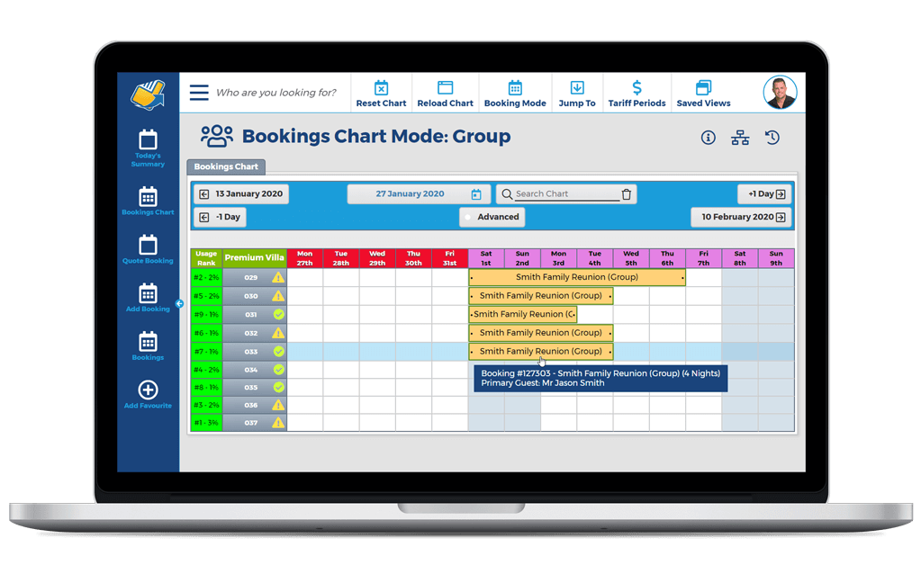 NewBook Property Management System (PMS) Feature - Booking Management (Group Bookings)