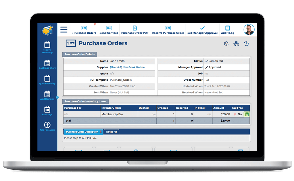 NewBook Property Management System (PMS) Feature - Purchase Orders