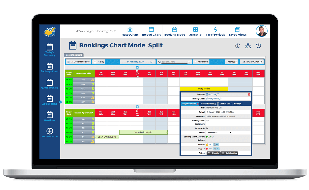 NewBook Property Management System (PMS) Feature - Booking Management (Split Bookings)