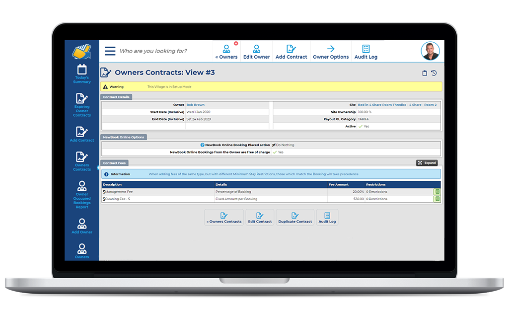 NewBook Property Management System (PMS) Feature - Owner Payments (Owner Contracts)